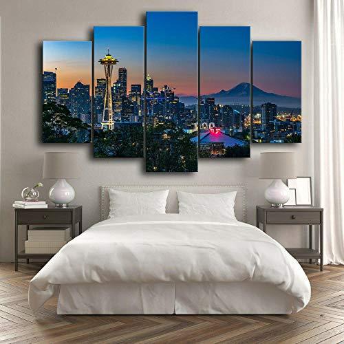 5 Piezas Cuadro sobre Lienzo De Fotos Seattle City Washington USA Lienzo Impresión Cuadros Decoracion Salon Grandes Cuadros para Dormitorios Modernos Mural Pared Listo para Colgar