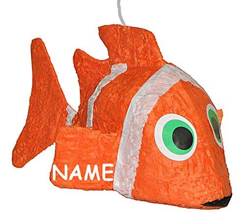 alles-meine.de GmbH 3-D XL Pinata Clownfisch Fisch incl. Namen - Deko Kindergeburtstag für Süßigkeiten Tischdekoration Pinatas - Partydekoration Fische - Kinder Mädchen Jungen