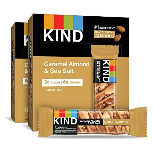 KIND Bars, Caramel Almond and Sea Salt, Gluten Free, 1.4 Ounce Bars, 24 Count