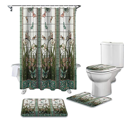 Anzona 4 Pieces Shower Curtain Sets with Non-Slip Rugs, Toilet Lid Cover and Bath Mat, Colored Glass Window Butterfly Water-Resistant Durable Bathtub Curtain with 12 Hooks,Standard 66''x72''