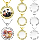 6 Sets Sublimation Blank Picture Photo Round Photo Pendant Picture Necklaces with Chains for Men Women Necklaces (Gold, Silver)