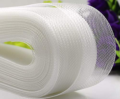 Abbaoww Polyester 3 Inch 25 Yard Stiff Horsehair Braid for Polyester Boning Sewing Wedding Dress Dance Gowns Dress Accessories, White