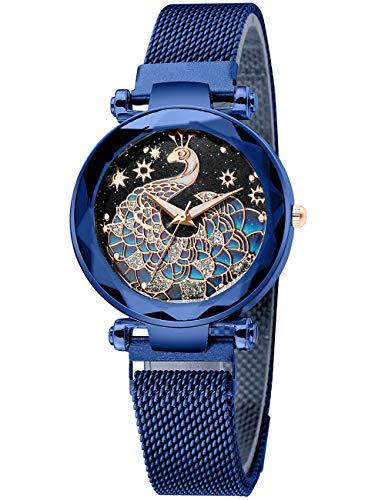Montre Femme Acier Inoxydable Montre Bracelet Etanche Bleu Mince Elegante Analogique Montre Ado Fille Maille Calendrier Cadran Paon