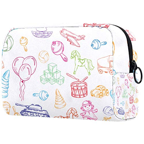 Colorful Children Toys Drawing for Women Toiletry Bags Makeup Bag with Zipper Travel Cosmetic Organizer