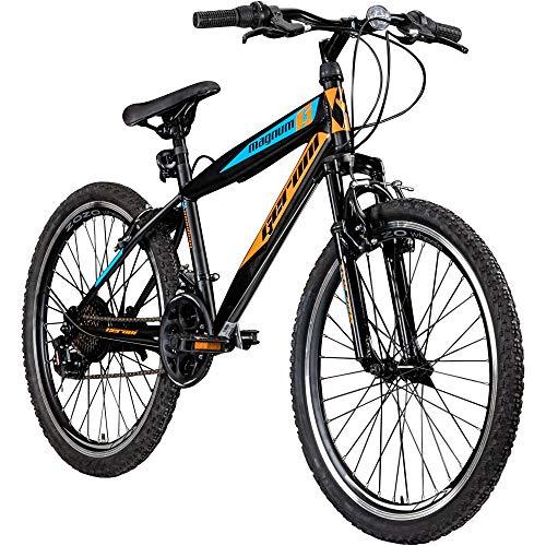 "Jugendfahrrad 24 Zoll Mountainbike Fahrrad 24\"" Geroni Magnum Hardtai MTB Jugend (schwarz/orange/blau, 36 cm)"
