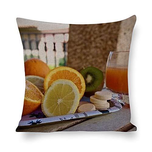 Lino Cojines Flor de Alimentos Bebidas Ingrediente Funda de almohada duradera de algodón y lino, adecuada para todo tipo de regalos navideños 40 * 40cm