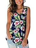 Womans Hawaiian Cute T Shirts V Neck Summer Tee Tops Women Floral Floral Blue L