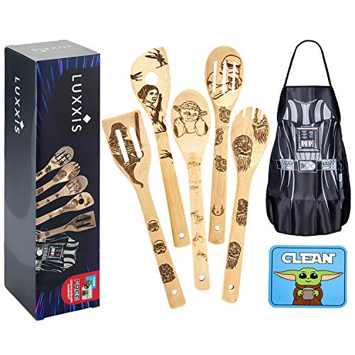 Luxxis Star Wars Gifts Cooking Utensils 7PC Set - 5X Organic Bamboo Spoons, 1X Kitchen Star Wars Apron and 1X Dishwasher Magnet – Premium Cookware Darth Vader Apron – Double-Sided Magnet Stickers