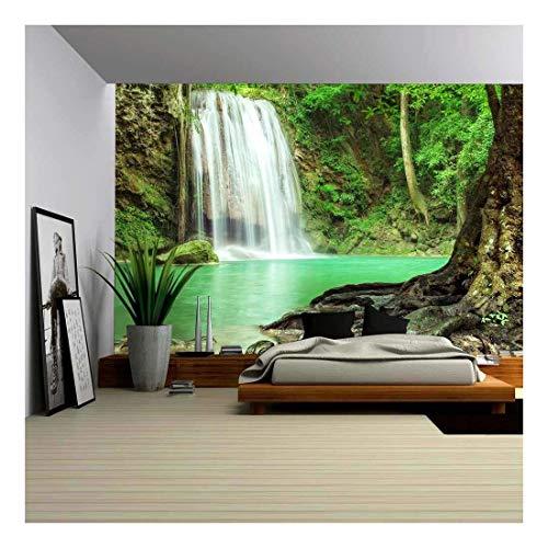 wall26 - Erawan Waterfall in Kanchanaburi, Thailand - Removable Wall Mural | Self-Adhesive Large Wallpaper - 100x144 inches