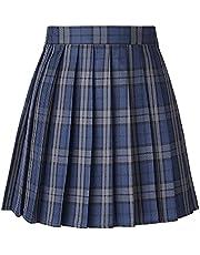 ふわりあ 制服 スカート プリーツスカート チェック柄 ミニ ハイウエスト スクールスカート 女子高生 青藍 L