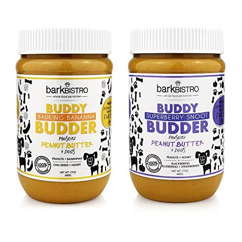 BUDDY BUDDER Bark Bistro Company, Superberry Snoot + Barkin' Banana, 100% Natural Dog Peanut Butter, Healthy Dog Treats - Made in USA (Set of 2 / 17oz Jars)