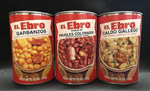 El Ebro Caldo Gallego, Garbanzos, Frijoles Colorados, Variety 12 Pack, 15 oz (4 of each flavor)