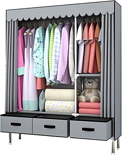 Teapots Kombination garderob garderob för hängande kläder med låda tyg garderob montering utrymme kläder förvaring skåp skåp Liuyu. (Färg: Grå)