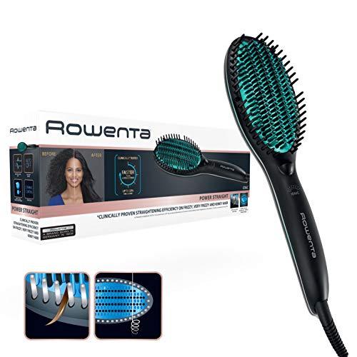 Rowenta Cepillo alisador Power Straight CF5820 - Cepillo especial para cabello muy rizado, con generador de iones y temperatura regulable hasta 200º, púas de gran sujeción desde la raíz