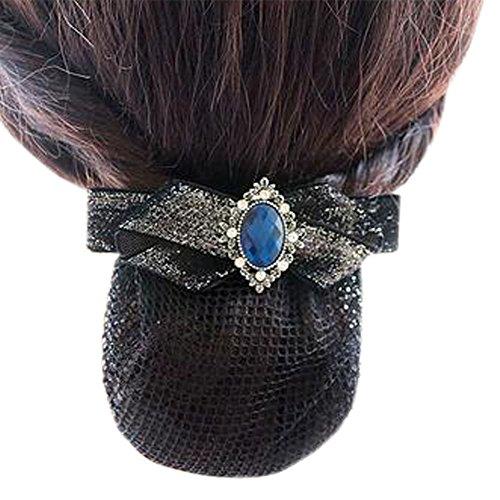 Maillot élastique pour dames Maillot de cheveux Hair Snood Bowtie Mesh, Elegant Black, Fine Mesh