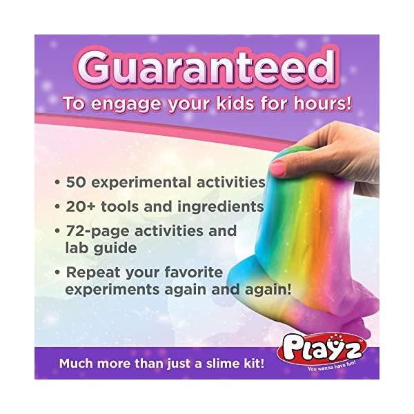Playz Unicorn Slime & Crystals Science Kit Gift for Girls & Boys with 50+ STEM Experiments to Make Glow in The Dark Unicorn Poop, Snot, Fluffy Slime, Crystals, Putty, Arts & Crafts for Kids Age 8-12 7