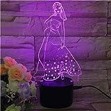 LZCHA Mädchen Geschenk Dekoration Led Schreibtisch Tischlampe 7 Farbe 3D Nachtlicht Touch Control Kind Geschenk Urlaub Nachtlicht