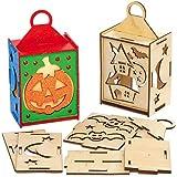 Baker Ross AX241 Halloween Laternen aus Holz Bastelset für Kinder - 3 Stück, Kreativsets und Bastelbedarf zum saisonalen Basteln und Dekorieren zur Winterzeit