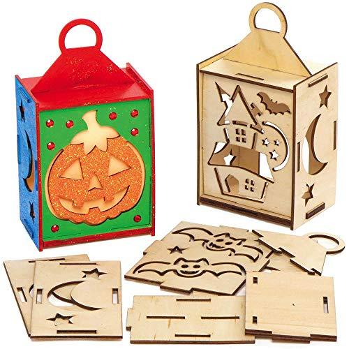 Baker Ross AX241 Halloween Laterne Bastelset aus Holz - 3er Pack, Holzlaterne für Kinder zum Basteln und Bemalen