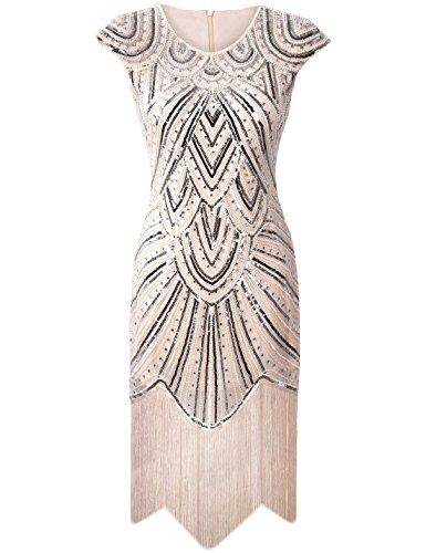 PrettyGuide Damen 1920er Gastby Diamant Pailletten Verschönert Mit Fransen Flapper Kleid Luxus...