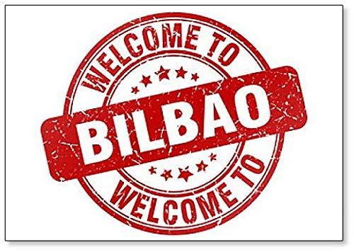 Imán para nevera con ilustración de sello vintage de la bienvenida a Bilbao rojo