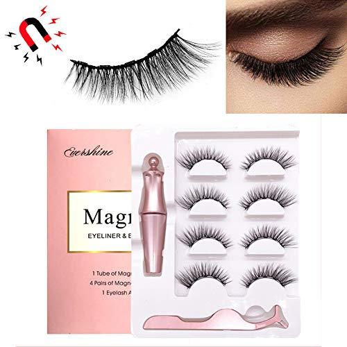 Eyeliner Magnétique Et Kit De Cils, Cils Magnétiques avec Eyeliner Liquide Magnétique Durable Et Imperméable, Non Toxique, Réutilisable, sans Colle