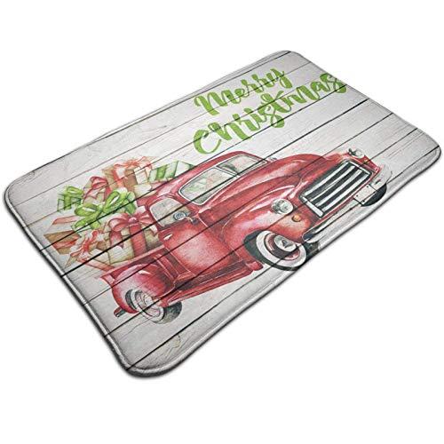 GOSMAO Felpudo de Entrada Alfombra Exterior para Puerta Impermeable Lavable Antideslizante Camión Rojo navideño Vintage 40X60cm