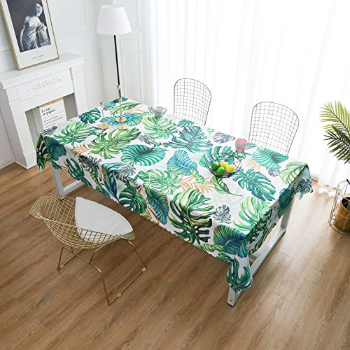 Tablecloth, Original Design Hand Drawing Art Print Table Cloth by iLiveX, Water-Proof Rectangle Table Cover, Kitchen Dining Indoor Outdoor Buffet Tabletop Decoration, 52'x72' (Green Tropical)
