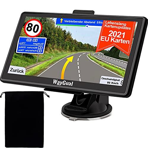 GPS Navigationsgerät für Auto LKW - WayGoal Navigation mit Tasche 7 Zoll Navi für Auto PKW, 2021 Europa UK 52 Karten, Lebenslang Kostenloses Kartenupdate mit POI Blitzerwarnung Sprachführung Fahrspur