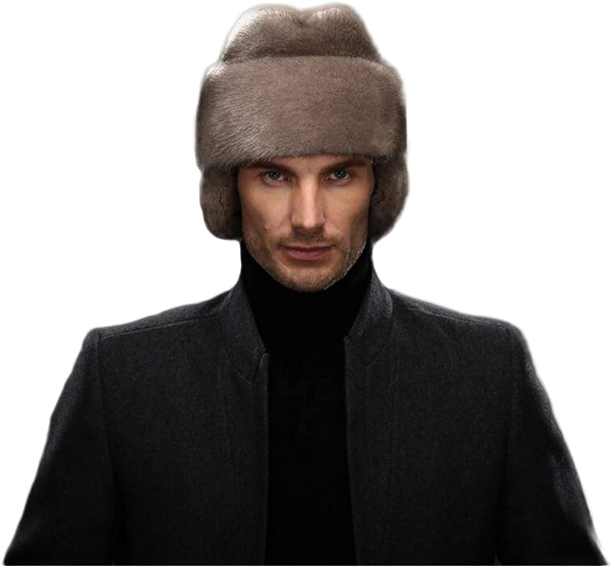 KAISHIN Max 41% OFF French Men Full-pelt Mink Fur 35% OFF Winter Flaps Ear Male Hats