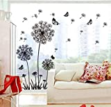 Pegatina de pared de patrón de diente de león negra perfecta para decorar su habitación pared