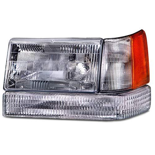 HEADLIGHTSDEPOT Chrome Housing Halogen Headlight Compatible With Jeep Grand Cherokee 1993-1997 Includes Left Driver Side Headlamp 3-Piece Set w/Signal and Corner Light