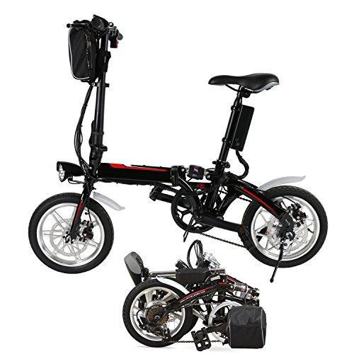 Chigant Bicicletta elettrica pieghevole da 14 pollici, Mini E-Bike Mountain Bike Nero City Rad, 36 V/250 W batteria agli ioni di litio, portata fino a 40 km con fanale LED per ragazzi e adulti (cuscinetto UE)