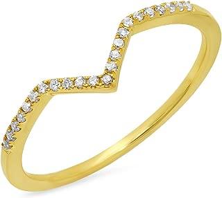 0.10 Carat (ctw) 10K Gold Round White Diamond Wedding Stackable Anniversary Guard Chevron Ring 1/10 CT