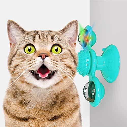 Ossky Giocattoli per Gatti, Mulino a Vento Giocattolo per Gatto, Giocattoli Interattivi con Palla di Rotazione con Catnip e Palla a LED, Addestramento Puzzle Interattivo Giocattolo per Gatti
