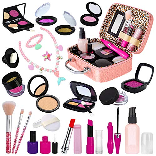RACPNEL 24 PCS Kids Pretend Makeup Kit for Little Girls, Pretend Play Toy Makeup Set for Toddler Girls with Cosmetic Case & Kids Mermaid Jewelry Set, Gift for Kids Girls Age 3 4 5+ ( No Real Makeup)
