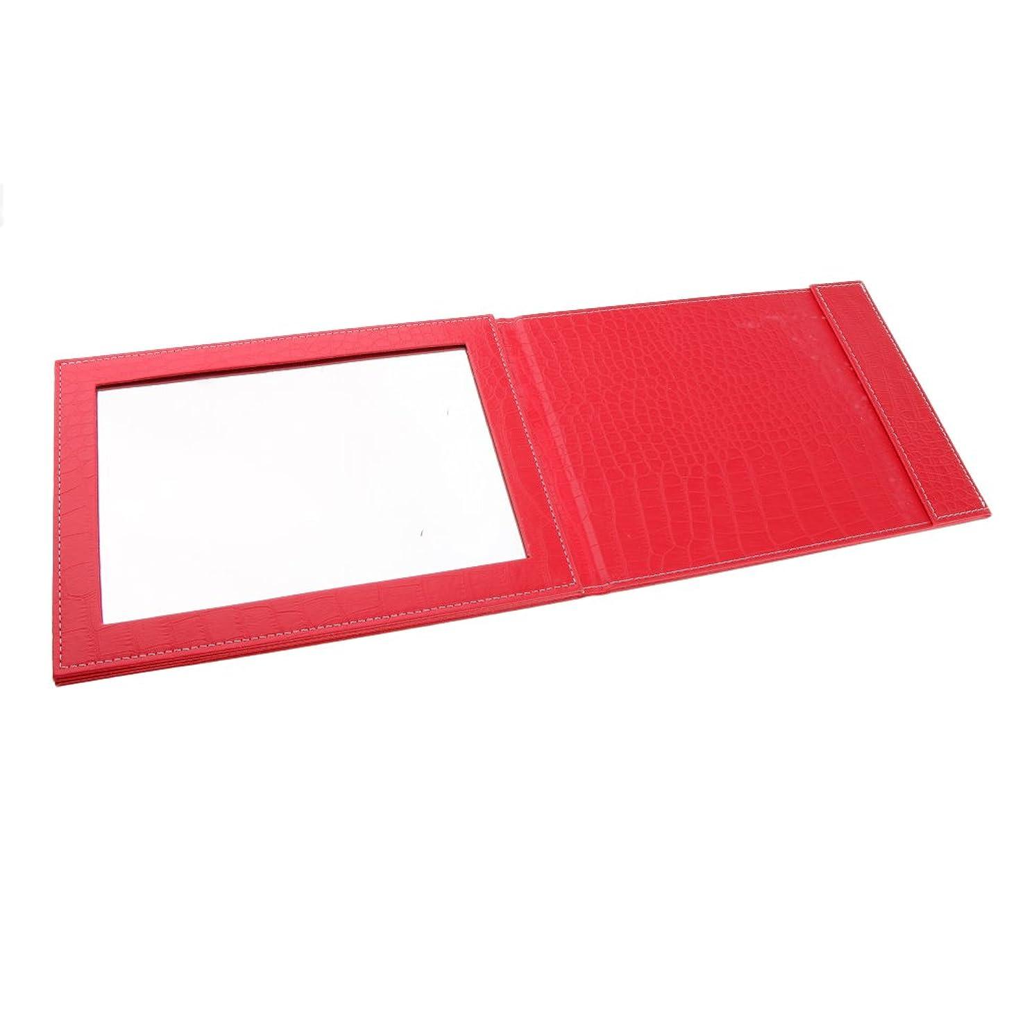 凝視ポルノ足枷Perfeclan 3色選べ ミラー 化粧鏡 メイクアップ 折りたたみ式 PUレザー 90°から145°調節 実用的 旅行  - 赤