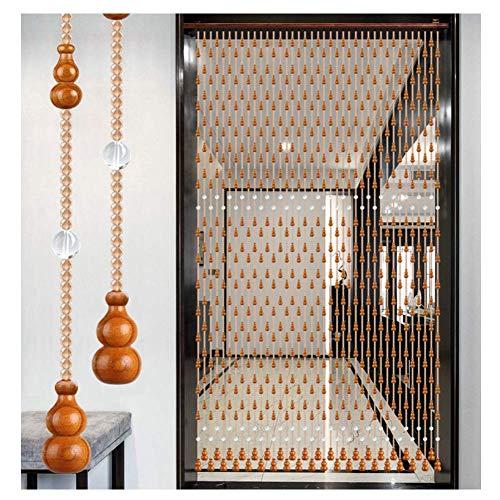 ZTMN parelgordijnen voor deuren kristallen handgemaakte deur string gordijn houten pompoen parels goed draperen kamerdecoratie (kleur: champagne, grootte: 150 cm x 176 cm)