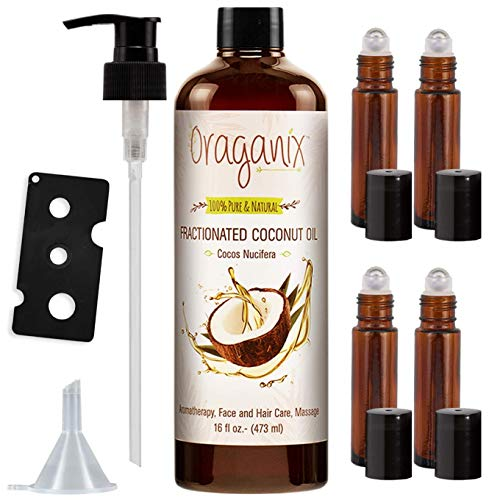 Oraganix Fractionated Coconut Oil with Roller Bottles  100% Pure Natural 16 Oz Coconut Oil 2ml Essential Oil Roller Bottles Caps Funnel and Bottle Opener  for Massage Oil Skin and Hair Care