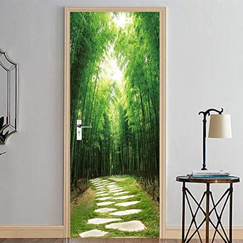 BXZGDJY 3D deur-wandsticker, groen bos, 77 x 200 cm, 3D-deur, muursticker, deur, voor woonkamer, kinderen, baby, kinderen, afneembaar vinyl muursticker, Art Home Decoratie, deurbehang, zelfklevend deurpo