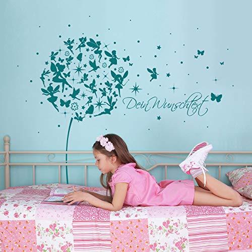 ilka parey wandtattoo-welt Wandtattoo Wandaufkleber Pusteblume Elfen Feen Schmetterlinge Wunschtext M2056 ausgewählte Farbe: *Flieder* ausgewählte Größe: *S - 110cm breit x 105cm hoch*