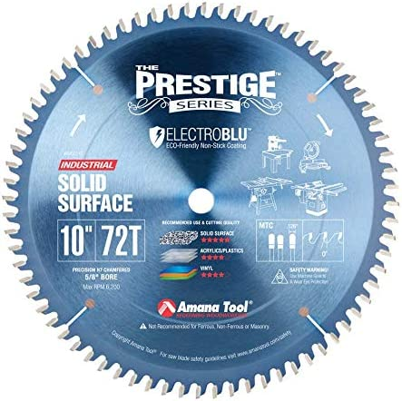 """lowest Amana Tool - lowest 610721C Electro-BLU Carbide Tipped Solid Surface new arrival 10"""" Dia x 72T Mtc, 0 Deg outlet sale"""