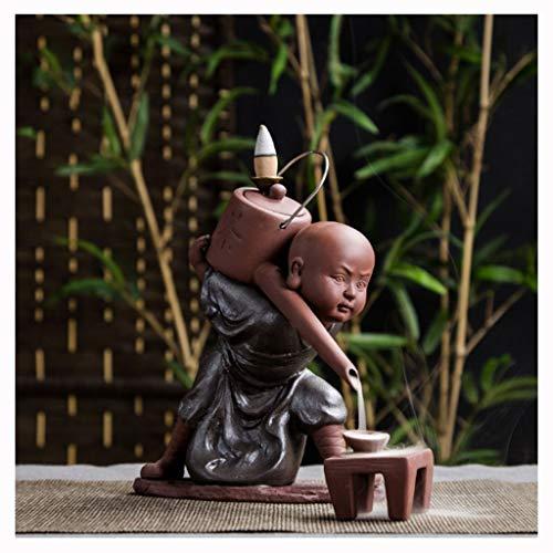 Quemador de incienso Quemador De Incienso Buda, Decoración Creativa Para El Hogar El Pequeño Monje Pequeño Buda Incensario De Reflujo Quemador De Incienso Uso En Casa De Té Incensario ( Color : B )