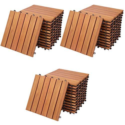 Deuba Set de 33 baldosas 'Clásicas' de madera de Eucalipto 30x30cm por 3m² Losas de terraza para jardín balcón spa o deck
