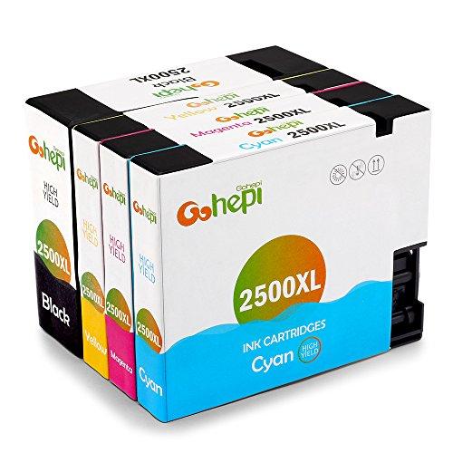 Gohepi PGI-2500XL Compatible para Cartuchos de tinta Canon PGI-2500XL, Negro/Cian/Magenta/Amarillo Juego de 4 Trabajar con Canon MAXIFY MB5350 MB5050 iB4050 MB5450 MB5155 MB5150 iB4150 MB5455
