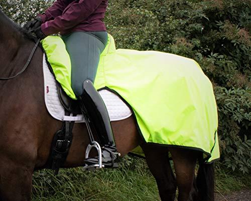 Finer Equine – Jaune haute visibilité – Feuille d'exercice à rouler combinant la feuille d'exercice et la housse de selle en un, antidérapant, imperméable et imperméable