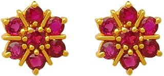 Lagu Bandhu 18k (750) Yellow Gold and Ruby Stud Earrings for Women