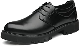 PengCheng Pang Classic Oxfords for Men Modern Business Dress Shoes Lace up Microfiber Leather Pointed Toe Low Top Thick-Bottom Lug Sole Anti-Slip (Color : Black, Size : 5.5 UK)