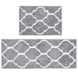 Küche Matte, U'Artlines Dekorative rutschfest Mikrofaser Fußmatte Badezimmer Mats Dusche Teppiche für Wohnzimmer Fußmatten Set 45x65+45x120cm, Grau