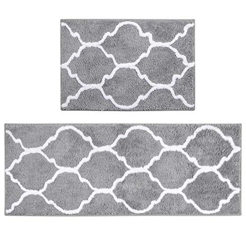 U'Artlines Lot de 2 Tapis de Bain Anti-Glissant Microfibre Absorbant Eau Super Comfort Tapis de Douche pour Salle de Bain(45*65+45*120cm)(Gris,Motif Fleur)
